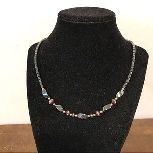 Jewelry - Metallic Rocky Beady Barrel Clasp Necklace